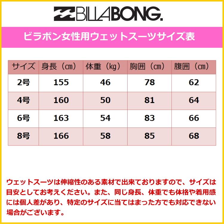 ビラボンウェットスーツ女性用サイズ表